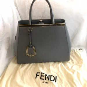 Fendi 2jours grey leather tote with strap